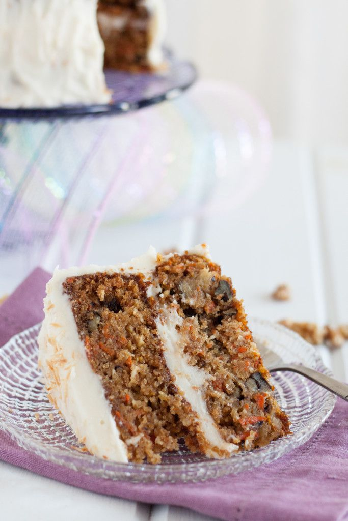 Carrot cake from scratch... with a tropical twist! Get the recipe for this amazing carrot cake with coconut cream cheese frosting on GoodieGodmother.com