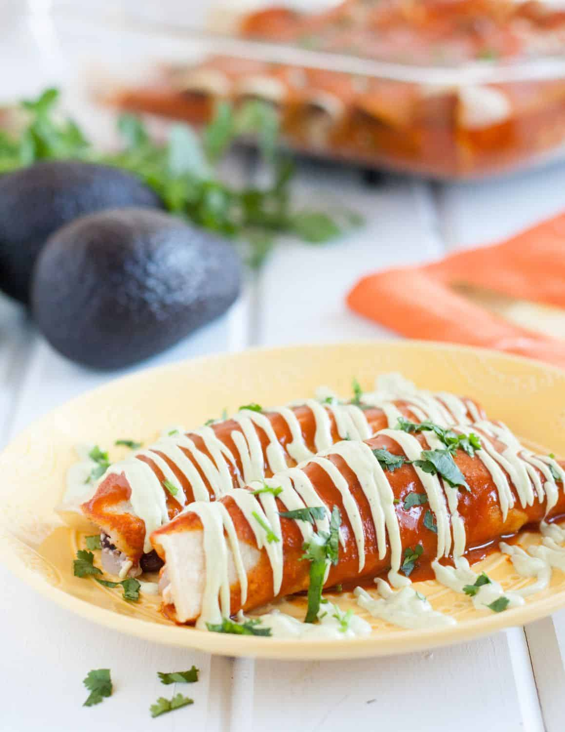 Vegan breakfast enchiladas! A delicious, savory vegan breakfast recipe that's so good, even