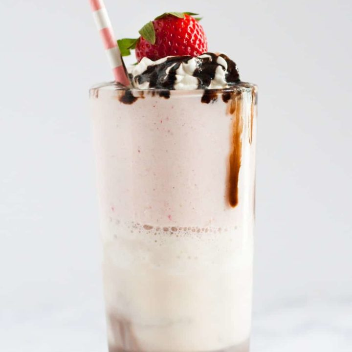 Easy Neapolitan Milkshake - 3 classic flavors blend perfectly in this layered old fashioned milkshake recipe. * GoodieGodmother.com