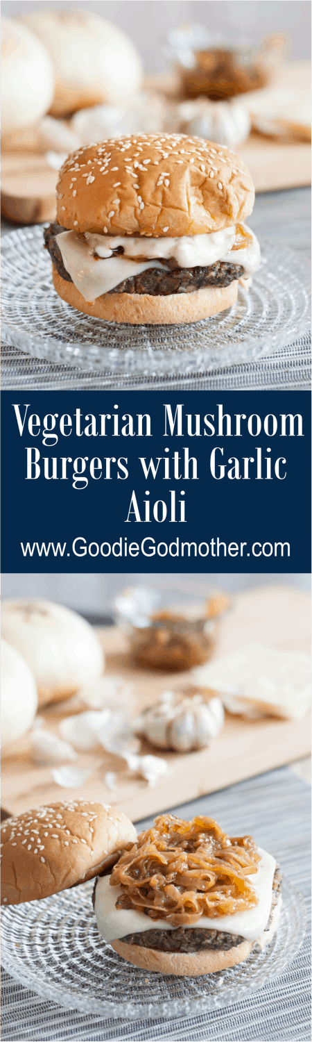 Vegetarian Mushroom Burgers with a garlic aioli - the most incredible mushroom Swiss burgers, and they're VEGETARIAN! Recipe on GoodieGodmother.com