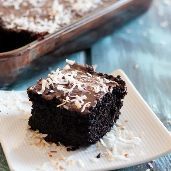 Chocolate Coconut Crazy 8 Cake - A one pan cake with no eggs, milk, or butter. Mix and bake in the same pan! This recipe is extra decadent with a vegan ganache topping. * GoodieGodmother.com