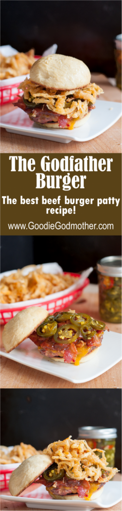 The Godfather Burger - A beef patty recipe 10 years in the making, this is the Godfather's secret to making juicy flavorful burgers perfect for the grill. * Recipe on GoodieGodmother.com
