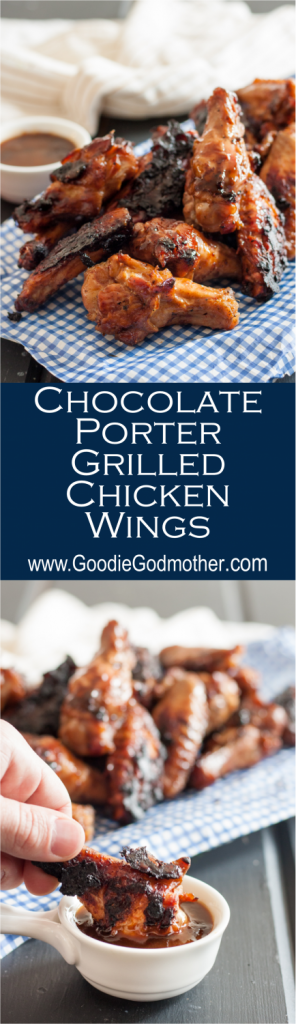 Chocolate porter grilled chicken wings are sweet and smoky with a hint of heat. A perfect unique grilled chicken wing recipe to enjoy this summer! * GoodieGodmother.com