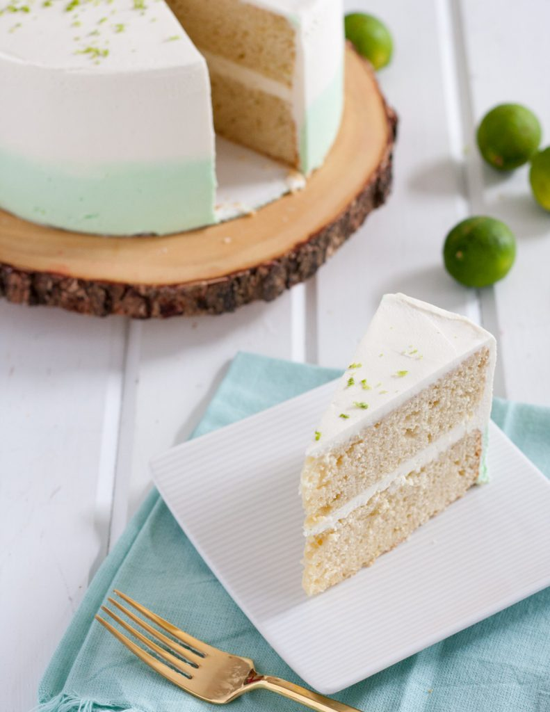 Key Lime Cake From Scratch - Delectably tart, perfect for serious key lime lovers. Includes recipe for white chocolate buttercream frosting. * GoodieGodmother.com