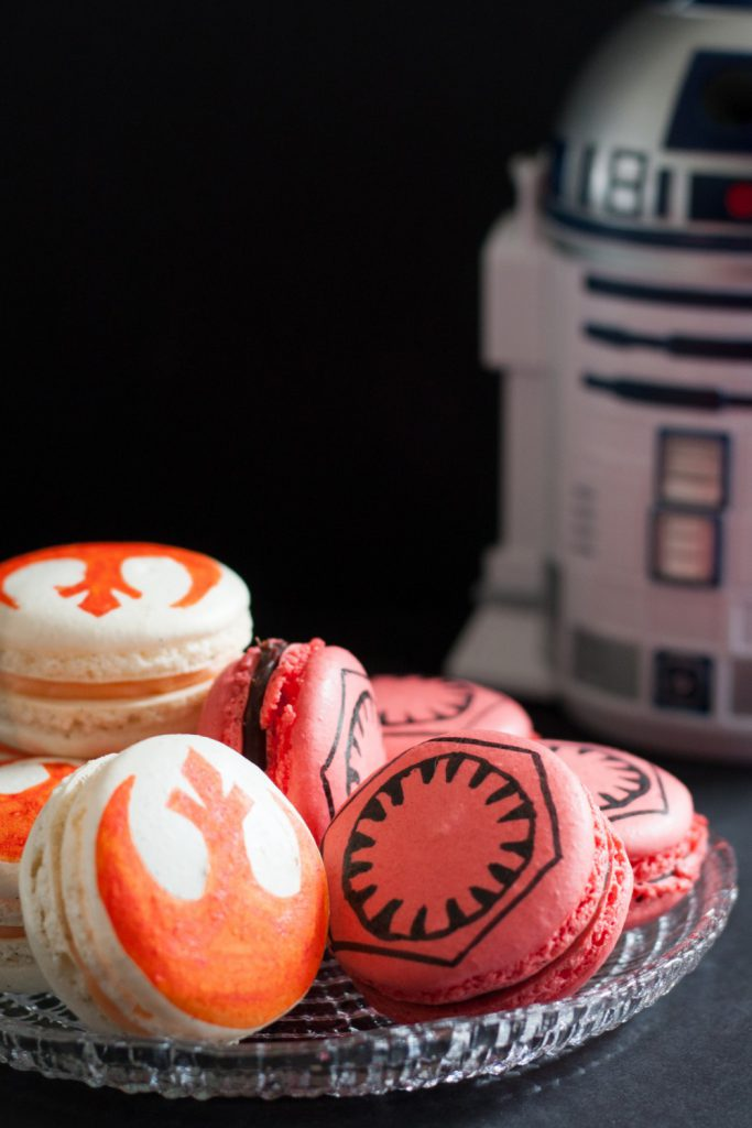 Whether you belong to the First Order or the Resistance, the Force is strong in these Star Wars Macarons! Recipes included for chili chocolate macarons and vanilla bean wild orange macarons. The post also contains a downloadable template for piping the macarons and making your stencils. This is a perfect Star Wars dessert for your favorite foodie. * GoodieGodmother.com