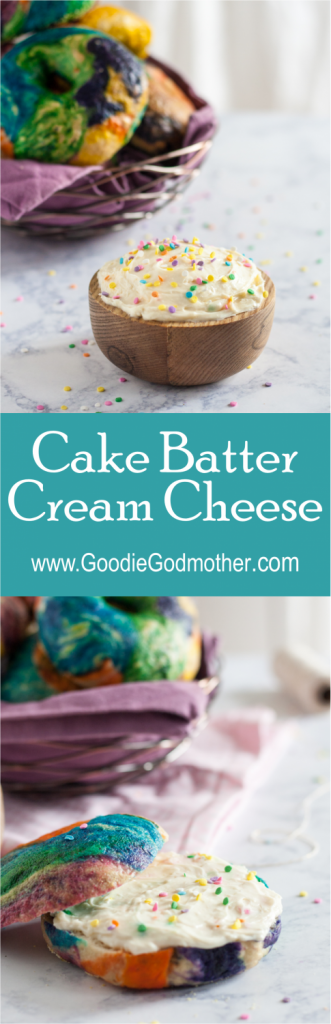 Cake Batter Cream Cheese - easy to make, and this recipe uses NO artificial extracts for flavor, but still tastes just like cake batter! * GoodieGodmother.com
