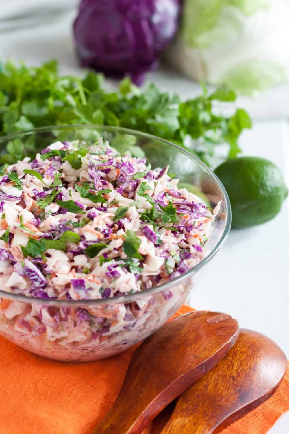 Creamy crunchy cilantro lime coleslaw makes a perfect side dish for your next bbq! * GoodieGodmother.com