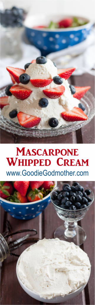If you're looking for an easy no-bake dessert or a great way to stabilize whipped cream, look no further than this mascarpone whipped cream recipe!  * Recipe on GoodieGodmother.com