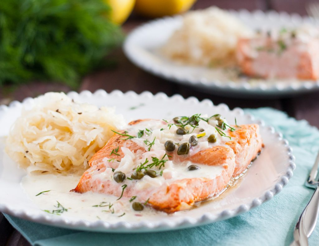 Alsatian Salmon Recipe - Give your staycation a French spin with this easy dish! * Recipe on GoodieGodmother.com