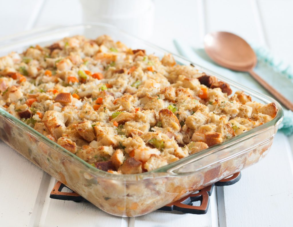 "Who says Thanksgiving dinner can't have a coastal touch? This flavorful seafood stuffing is loaded with crab and shrimp but pairs beautifully with turkey. A ""must save"" for Thanksgiving! * Mid-Atlantic Seafood Stuffing (Dressing) recipe on GoodieGodmother.com"