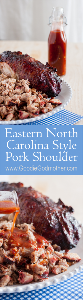 If you can't make a whole hog, don't fret! The Godfather's Eastern North Carolina Style Pork Shoulder recipe and the accompanying slightly spicy vinegar sauce still satisfies your North Carolina barbecue cravings! * Recipe on GoodieGodmother.com