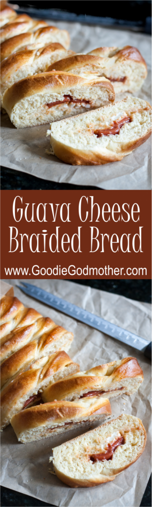 Guava Cheese Braided Bread is a Cuban twist on a brunch favorite! This easy sweet bread makes a lovely breakfast, snack, dessert, or neighbor gift! Get the recipe and a video tutorial on GoodieGodmother.com