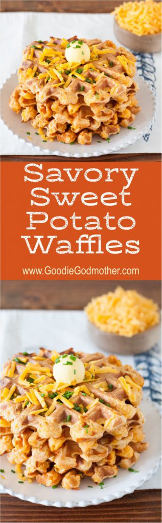 When I have extra mashed sweet potatoes or sweet potato casserole on hand, I like to whip up a batch of these savory sweet potato waffles. Easy to make, and freezer friendly, they're a fabulous way to reinvent leftovers! * GoodieGodmother.com
