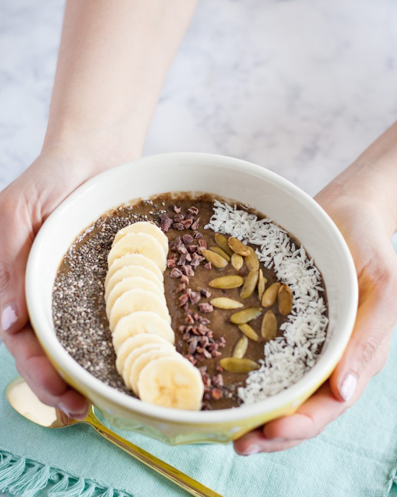 For a fun, unique breakfast, try a chocolate cherry smoothie bowl! * Recipe on GoodieGodmother.com