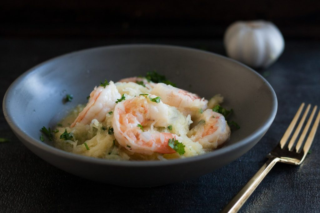 Spaghetti Squash Shrimp Scampi is a great low carb recipe! Post includes tips for preparing squash so dinner can be ready in minutes. * GoodieGodmother.com
