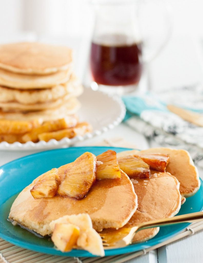 Caramelized Pineapple Pancakes with Butter Rum Syrup - A decadent and delicious brunch recipe on GoodieGodmother.com