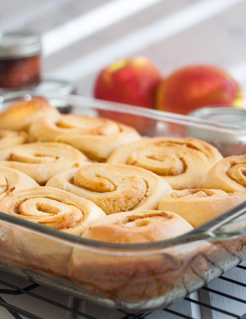 Apple butter cinnamon rolls are a delicious fall breakfast idea! You can even make them in advance and freeze for later. Visit GoodieGodmother.com for the recipe