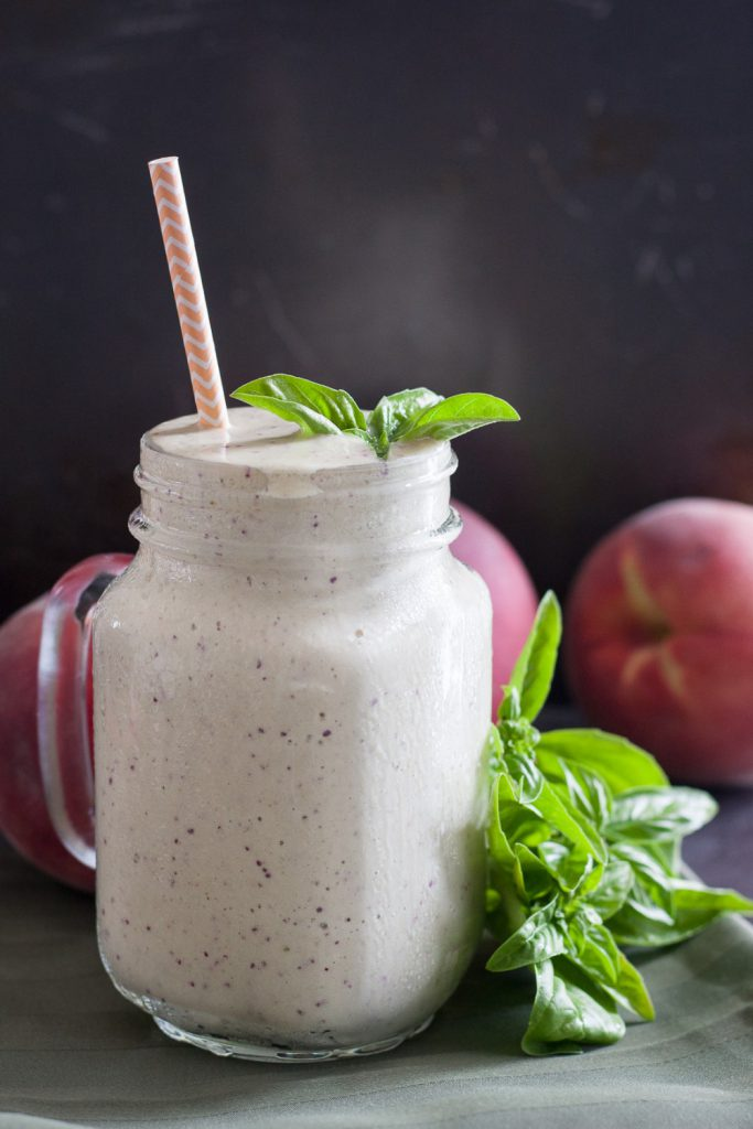 Peach Basil Protein Smoothie - seasonal ingredients make this unique protein smoothie recipe a favorite! * GoodieGodmother.com