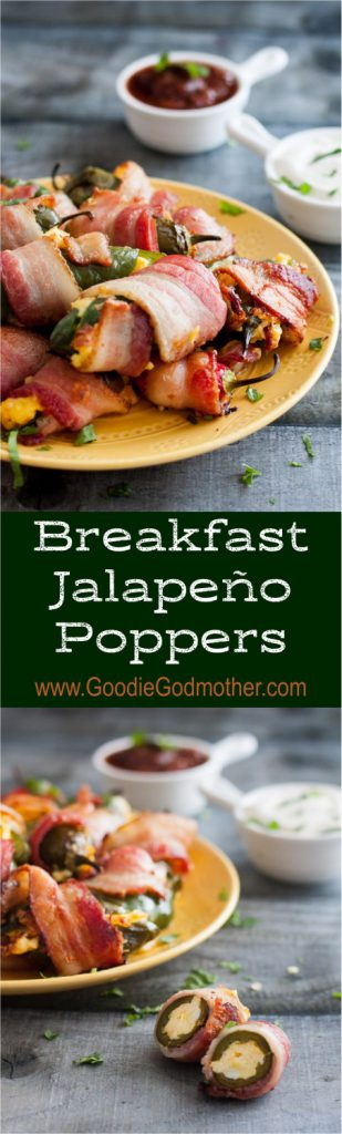 Breakfast Jalapeño Poppers - The perfect baked jalapeño popper recipe for morning football games... or breakfast lovers! * Breakfast jalapeno poppers recipe on GoodieGodmother.com
