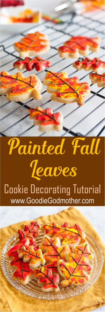Painted Fall Leaves Sugar Cookie Tutorial * Video and Instructions on GoodieGodmother.com