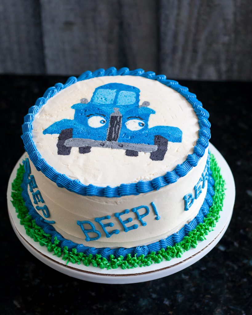 Little Blue Truck Smash Cake - A buttercream transfer tutorial on GoodieGodmother.com