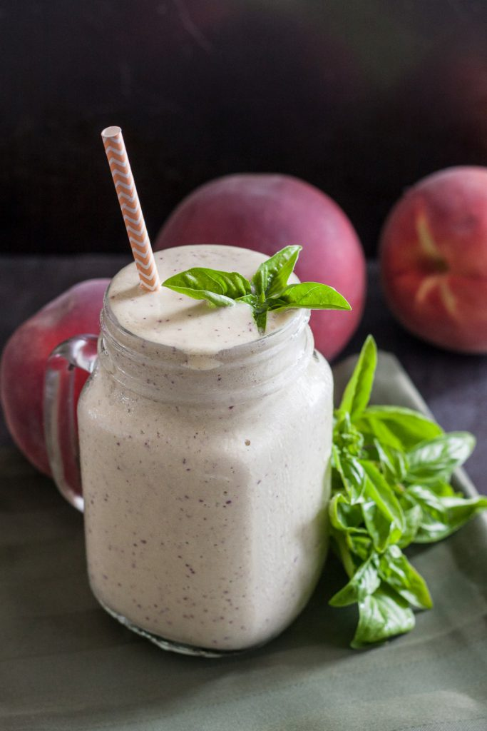 Peach Basil Protein Smoothie - seasonal ingredients make this unique protein smoothie recipe a favorite! * GoodieGodmother.com
