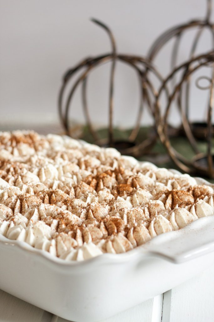 Pumpkin Chai Tiramisu - This unique tiramisu recipe is a great alternative to pumpkin pie for your fall dessert table! No baking required, and easily assembles in under 30 minutes * GoodieGodmother.com