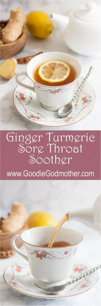 A natural caffeine-free way to sooth a sore throat, Ginger Turmeric Sore Throat Soother * GoodieGodmother.com