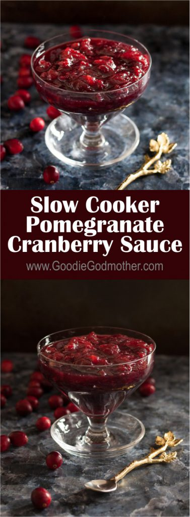 Fresh cranberries and in-season pomegranates make a perfect pairing in this easy slow cooker pomegranate cranberry sauce recipe! * Recipe on GoodieGodmother.com