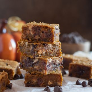 Peanut Butter Pumpkin Blondies {Egg Free}
