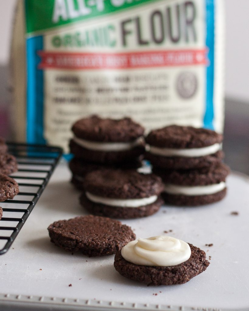 Chocolate Peppermint Sandwich Cookies - a perfect holiday twist on a childhood favorite cookie! * Recipe on GoodieGodmother.com