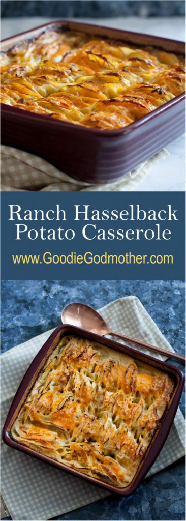 Crispy edges, a creamy center, cheese, and Ranch dressing - this Ranch Hasselback Potato Casserole is a fabulous side dish for potato lovers! * Recipe on GoodieGodmother.com