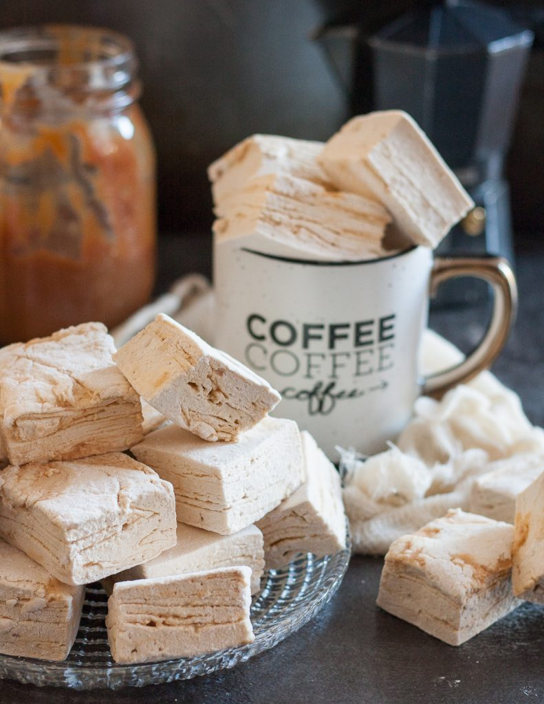 A rich caramel swirl rippled perfectly through pillowy coffee flavored marshmallows. These caramel latte marshmallows are coffee-lover gourmet marshmallow perfection, and perfect to make at home. * Recipe on GoodieGodmother.com