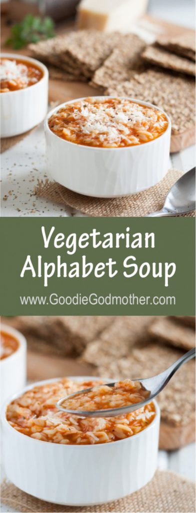Forget the can and make a childhood classic at home! This vegetarian alphabet soup recipe is easy to follow and definitely qualifies as comfort food! * Recipe on GoodieGodmother.com