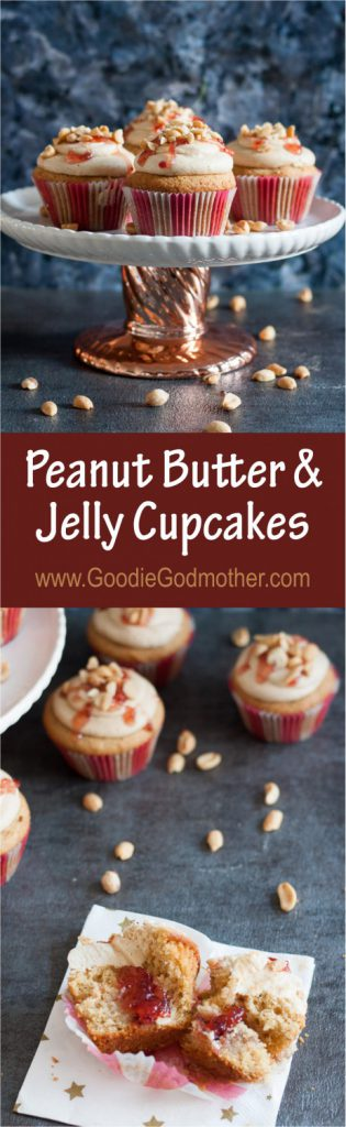 A classic sandwich in dessert form, you won't believe the inspiration story behind these delicious peanut butter and jelly cupcakes. * Recipe on GoodieGodmother.com