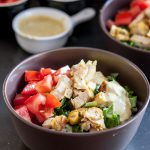 Perfect for an easy, balanced meal, these chopped chicken rice bowls with a tasty curry mustard sauce are always a hit at mealtime! * Recipe on GoodieGodmother.com