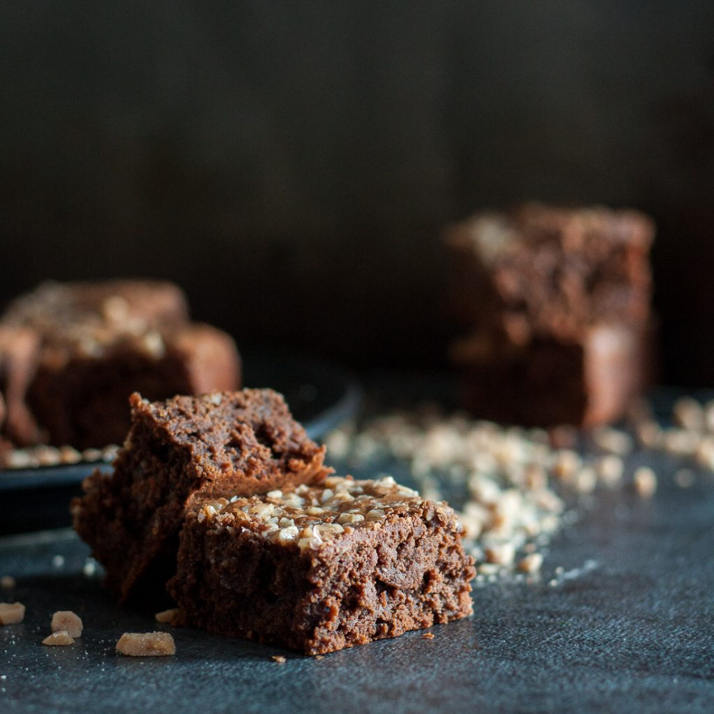 Rich chocolate toffee espresso brownies are a perfect unique chocolate brownie indulgence. They have just a hint of coffee flavor and a nutty toffee crunch! * Recipe on GoodieGodmother.com