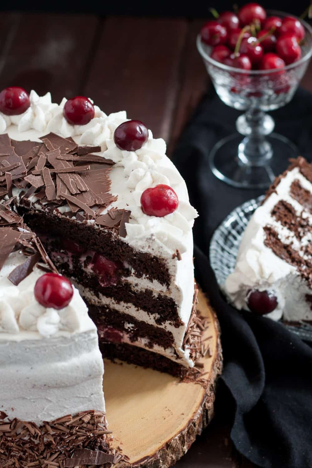 Chocolate Cake Decorated With Cherries