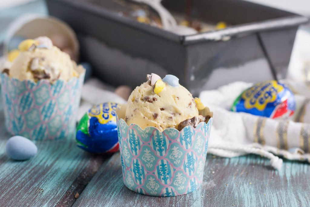 Homemade gelato is ultra creamy, sweet, and this version is a unique make ahead dessert to serve in springtime! Cadbury creme egg gelato is a great way to use all that Easter chocolate! * Recipe on GoodieGodmother.com