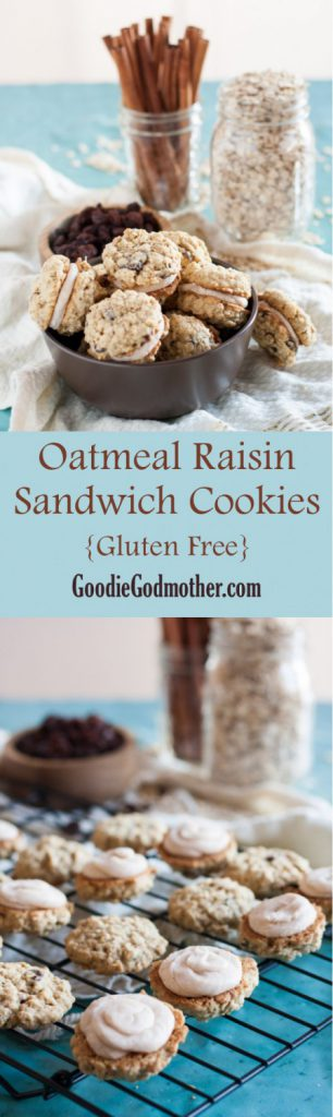 A little retro, but definitely a classic, these gluten free oatmeal raisin sandwich cookies are perfect for those with gluten sensitivities. * Recipe on GoodieGodmother.com