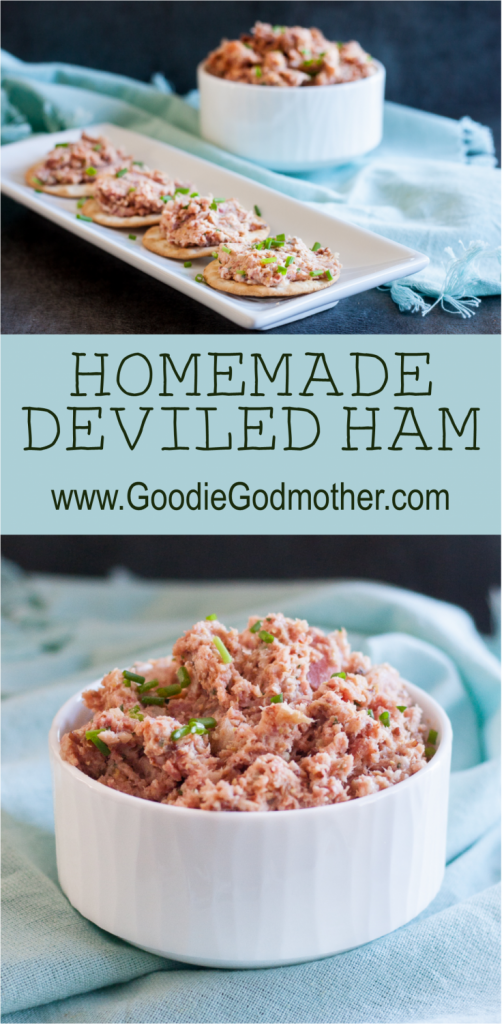 A classic in Southern cooking, homemade deviled ham makes a great sandwich spread, cracker topping, or mix in! This is a great way to use leftover spiral ham. * Recipe on GoodieGodmother.com