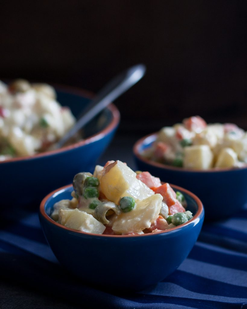 Ensaladilla Rusa, also called Ensalada Rusa, or just Spanish potato salad, is a favorite Spanish dish.  * Recipe on GoodieGodmother.com