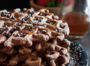 Chocolate Stout Beer Waffles with Whiskey Syrup