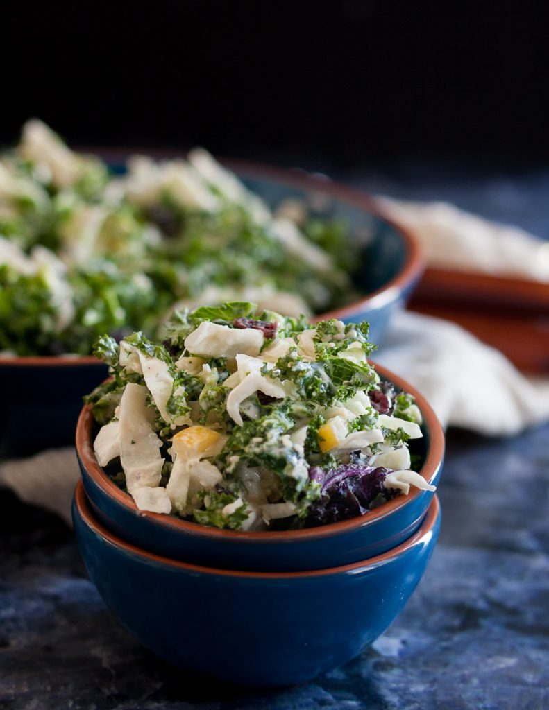 A CSA-inspired salad, this cabbage kale tahini slaw is easy, and most importantly, delicious! * Recipe on GoodieGodmother.com
