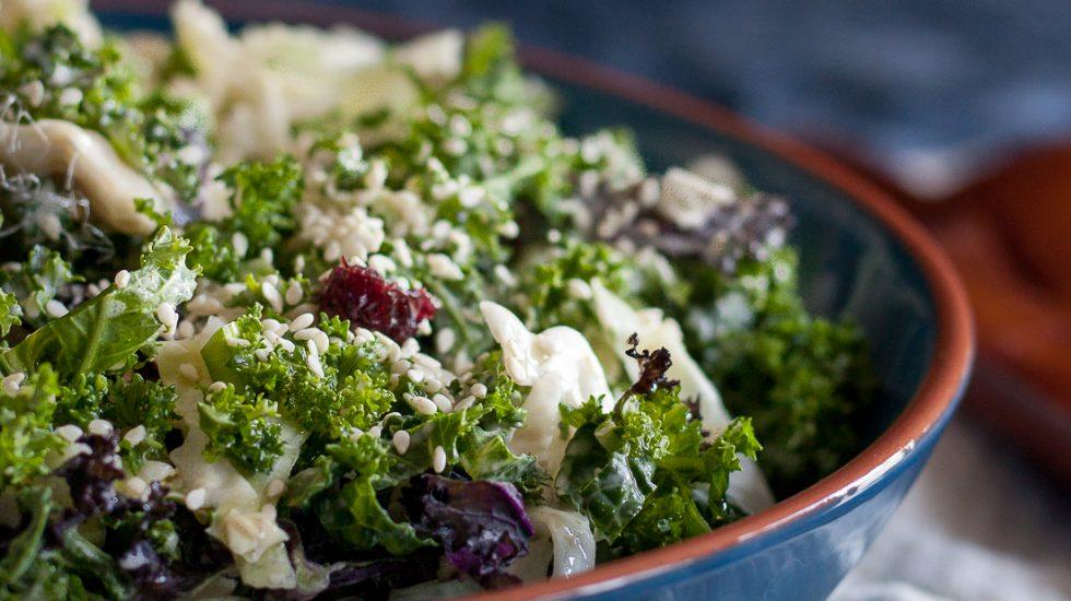 Cabbage Kale Tahini Slaw