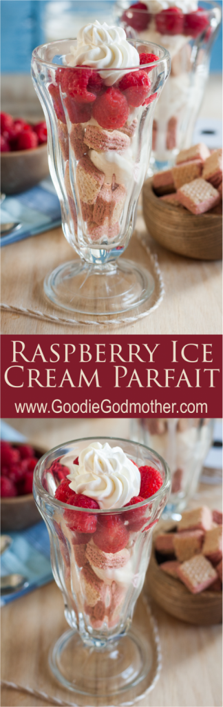 A raspberry ice cream parfait is an elegant and easy no-bake summer dessert! * Recipe on GoodieGodmother.com