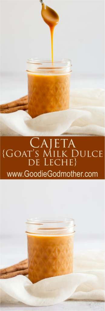Cajeta, a goat's milk version of dulce de leche, is a delicious caramel for desserts. You can make dulce de leche from scratch using either goat's milk, or cow's milk.* Recipe on GoodieGodmother.com