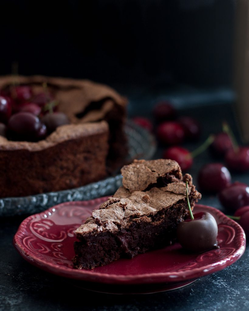 Flourless Black Forest Cake is a gluten free treat inspired by in-season cherries and classic Black Forest Cake. * Recipe on GoodieGodmother.com