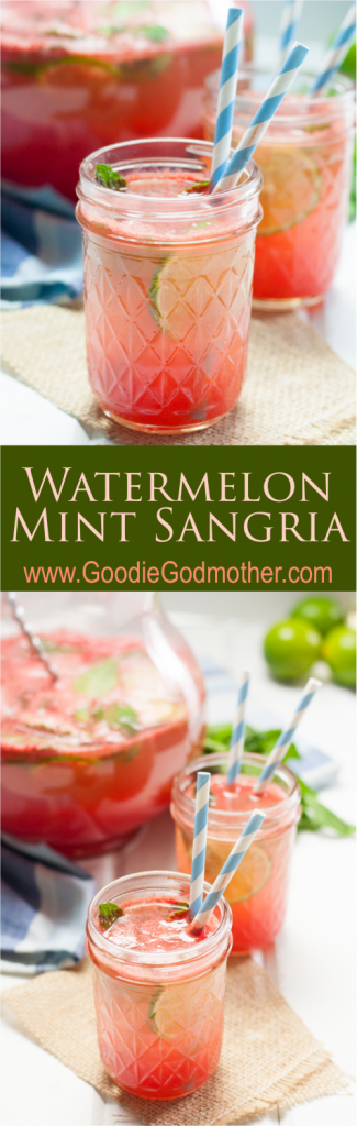 Watermelon mint sangria is a refreshing summer cocktail! This sangria recipe is made for warm evenings on the porch. * GoodieGodmother.com
