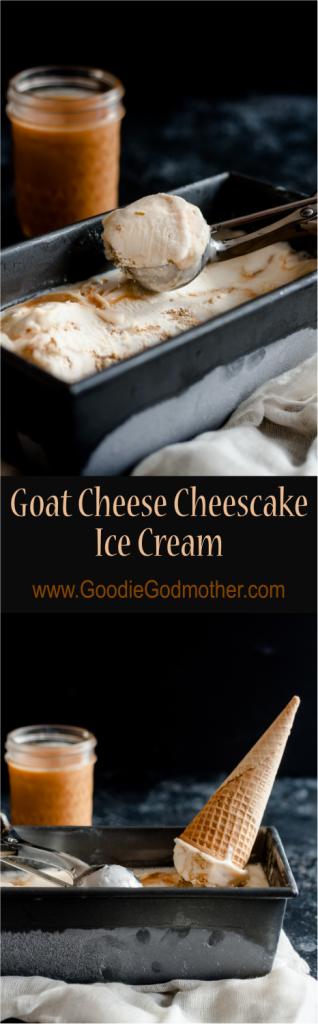 Goat cheese cheesecake ice cream is a decadent, not too sweet, warm weather treat! * Recipe on GoodieGodmother.com